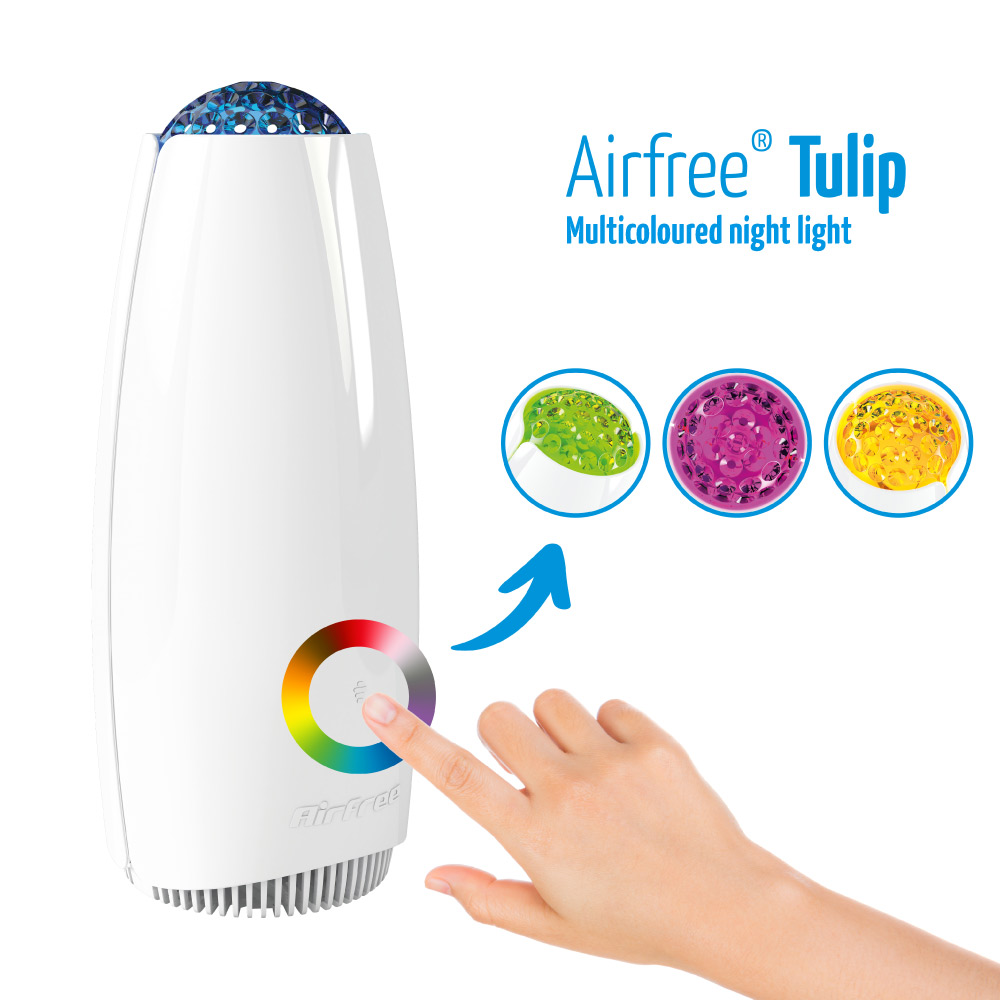 airfree tulip has a multicoloured night light feature